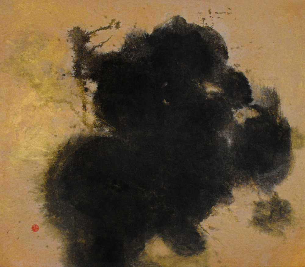 golden painting, japanese lacquer, chaos,
