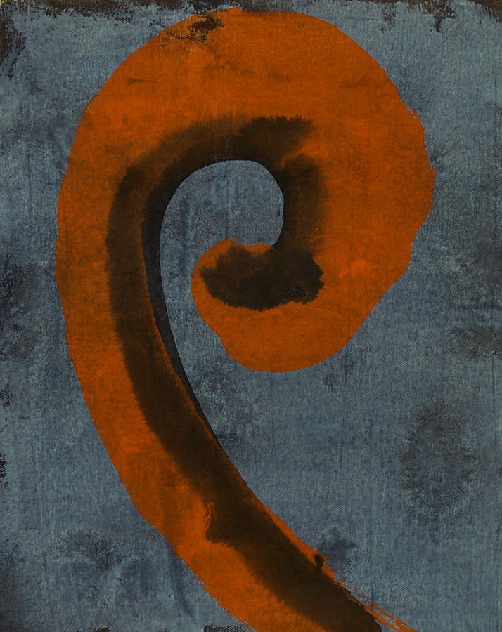 symbol, dragon tail, orange, gray, line work