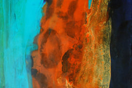 ice and fire, cold and hot, flow, object, transparence, gold, orange, blue, forms, pattern, shapes, color field