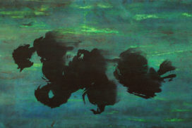 brush marks, abstract expressionism, movement, dots, space, green, energy, zen