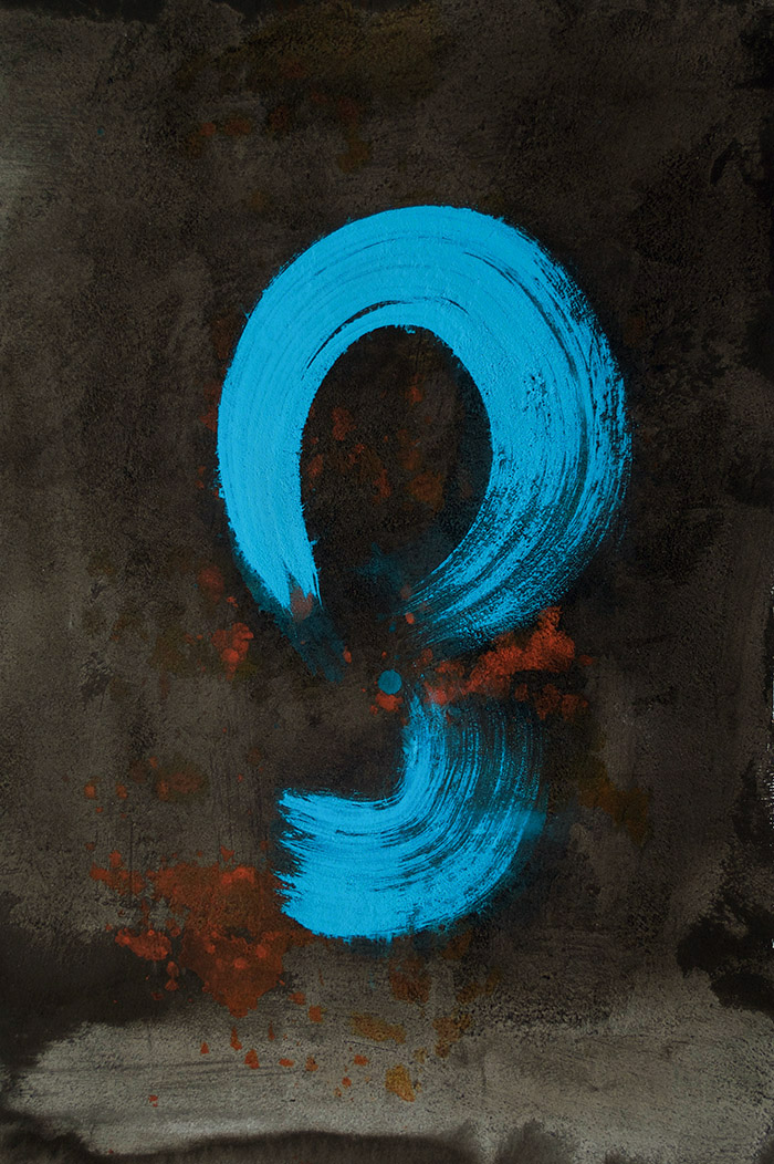 brush mark, question mark, message, symbol, turquoise, line work, minimalism
