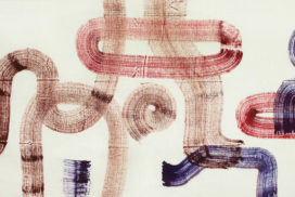 brush, mark, line work, time, timeless, red, trace, map, road, labyrinth, mystery, momentum