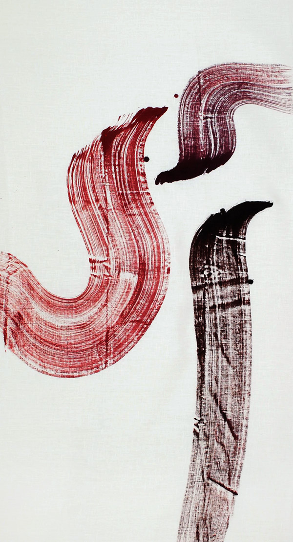brush, mark, line work, time, timeless, red, trace, wash, sea, waves, mystery, momentum