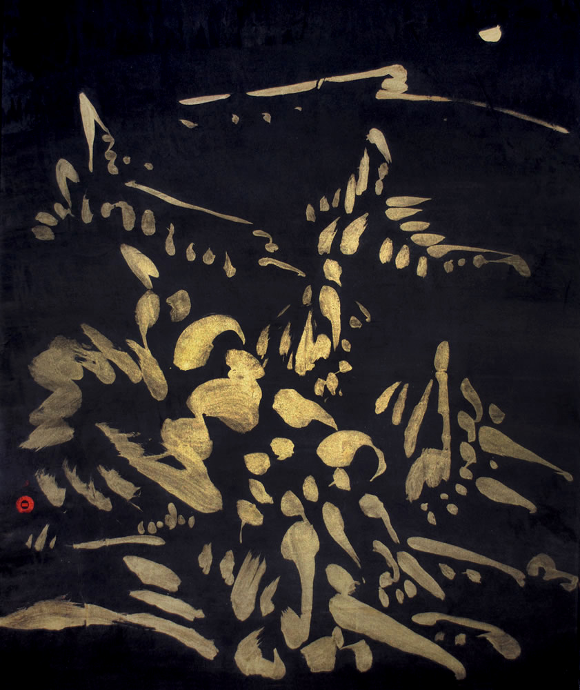gold, line work, brush work, modern Chinese painting, abstract expressionism