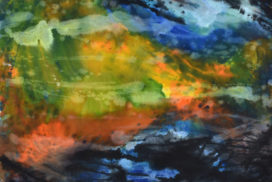 Chinese painting, color field, kinetic, abstract expressionism, blue, gestures, brush mark, abstract landscape, modern landscape painting, energy, mist, fog, space