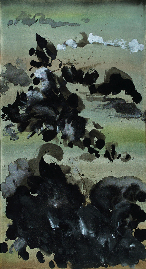 brush work, silver, green, gray, abstract landscape, abstract expressionism, modern Chinese painting