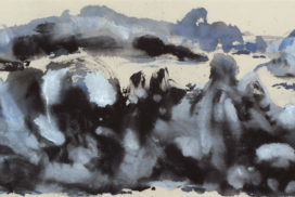 Chinese painting, silver gray, modern landscape painting