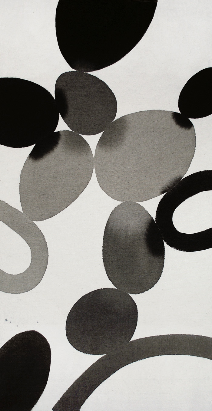 color effect, bleeding effect, minimalism, black, gray, dot, oval, circle, space