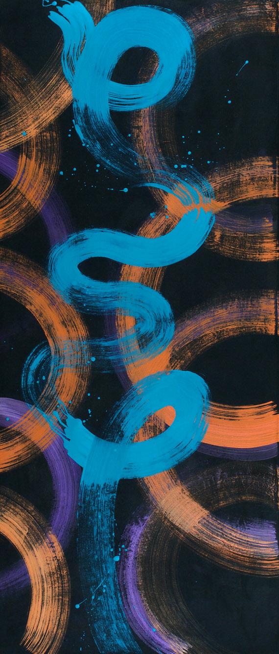 line, curve, blue, orange, black, iridescent, purple, brush mark
