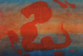 modern chinese calligraphy, gold painting, vermilion red, Japanese calligraphy, emptiness