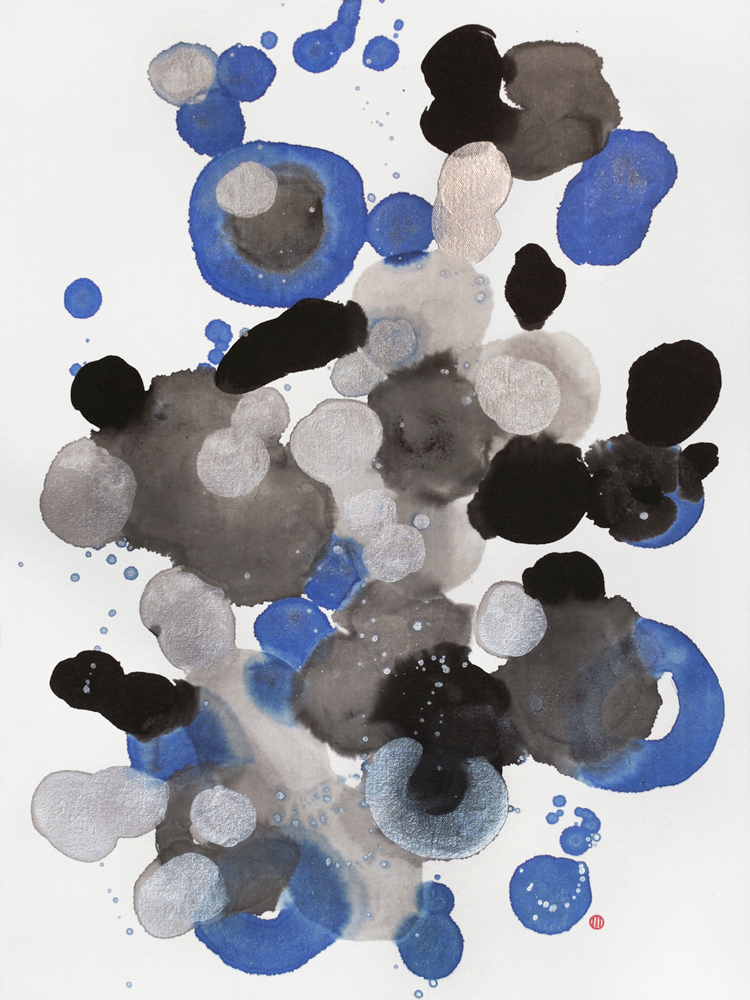 silver, blue, dots, snow, winter, nature, abstract expressionism, marks,