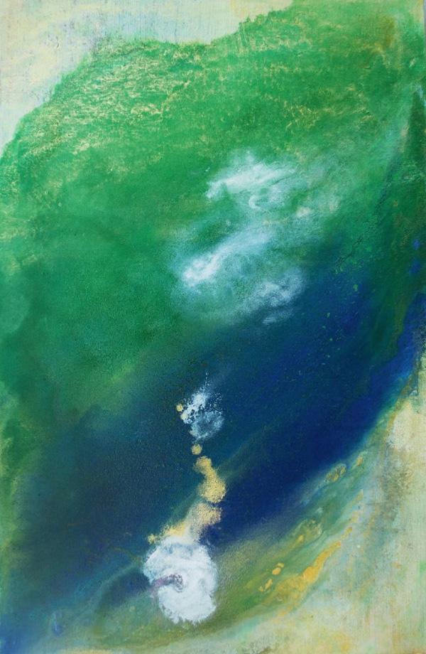 dots, circles, joy, colors, Abstract Expressionism, nature, clouds, green, gold, blue, joy