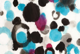 abstract expressionism, aqua, magenta, water, dots, circles