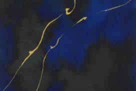 line work, gold, blue, black, gray, night, thunder