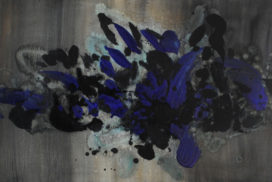 iridescent, midnight blue, purple, french ultramarine, abstract landscape, dreamy, brush mark