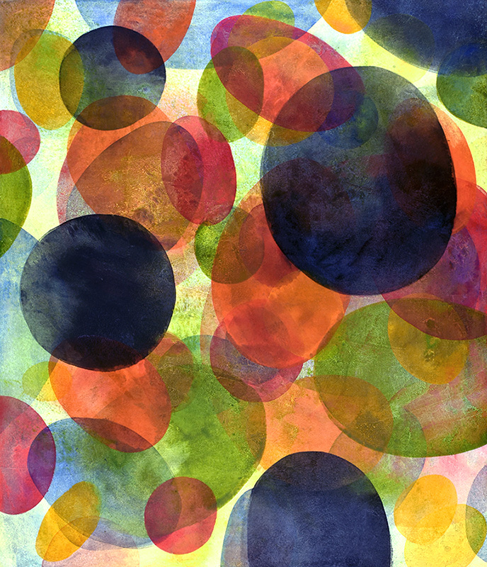 color field, color and forms, floating world, oval, dots, pattern