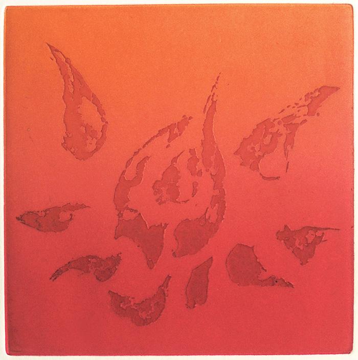 symbol, lotus, padma, red, fire, brush marks, expressionism