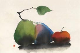 fruits, still life, space, minimal, minimalist, Morandi