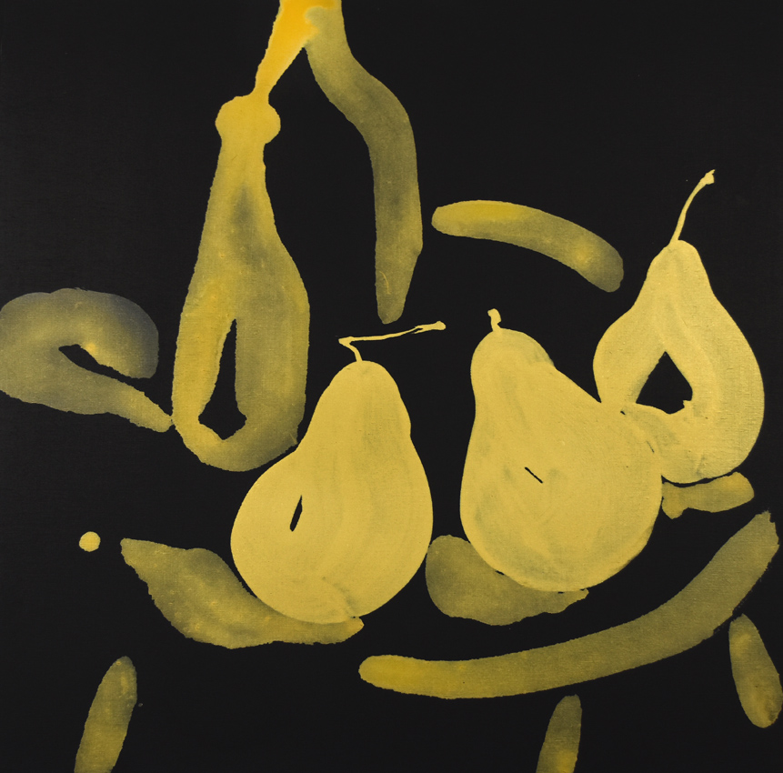 oval, oblong, Matisse, gold, shapes, forms, three pears, abstract still life, contemporary Chinese art, modern Chinese painting