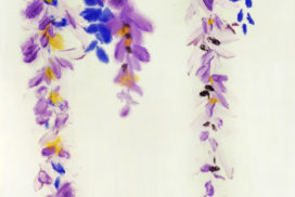 abstract expressionism, color field, brush mark, yin and yang, nature, plant, spring, seasons, wisteria, modern Chinese art, kinesis, gestural painting, purple, minimalism