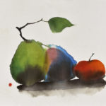 oval, oblong, shapes, forms, three pears, abstract still life, contemporary Chinese art, modern Chinese painting