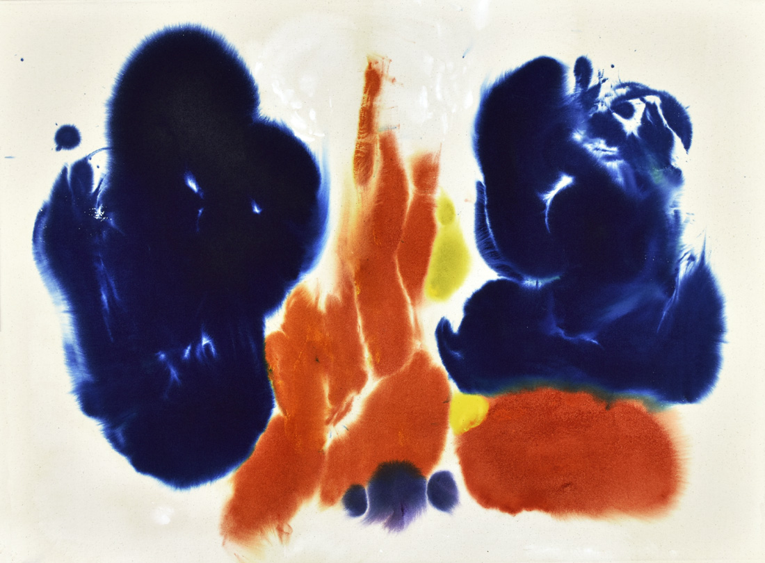 abstract expressionism, Vermillion, blue, energy, brush mark, modern Chinese art, kinesis, gestural painting, minimalism